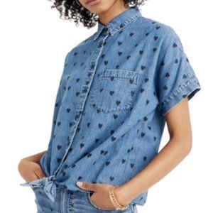 Madewell Womens Denim Tie Front Heart Print Shirt Medium
